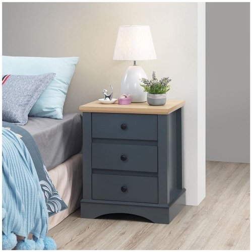 Carden Grey 3 Piece Bedroom Set (2 Door Wardrobe, 7 Drawer Chest, 3 Drawer Bedside)