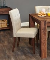 Shiro Walnut Flare Back Upholstered Dining Chair - Biscuit (Pack Of Two)