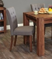 Shiro Walnut Flare Back Upholstered Dining Chair - Slate (Pack Of Two)