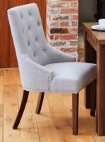 Shiro Walnut Accent Narrow Back Upholstered Dining Chair - Grey (Pack Of Two)