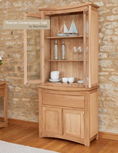 Roscoe Contemporary Oak Glazed Display Top With Oak Sideboard