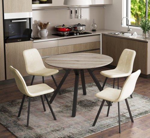 Toronto Round Dining Table & 4 Dining Chairs