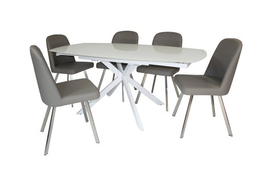 Geneva Motion Dining Table & 5 Faux Leather Dining Chairs
