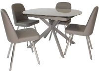 Geneva Motion Dining Table & 4 Faux Leather Dining Chairs