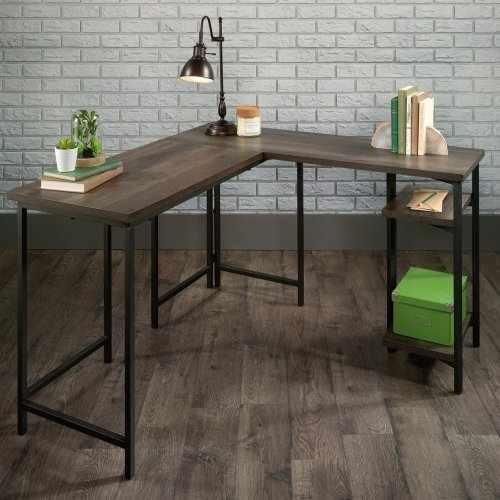Teknik Industrial Style L-shaped Smoked Oak Desk