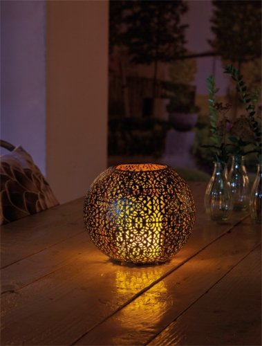 Luxform Lighting Coco Solar Metal Flame Effect Table Light 51 Led
