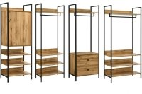 Zahra 4 Piece Bedroom Furniture Set Open Wardrobes - Wotan Oak
